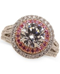 Marchesa Pink And White Diamond Halo Certified Engagement Ring 3 Ct. T.W. In 18K White Gold