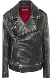 Red Valentino Redvalentino Woman Distressed Leather Biker Jacket Black