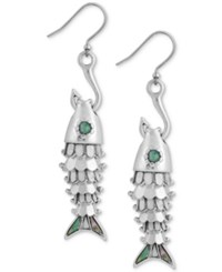 Lucky Brand Silver Tone Fish And Hook Drop Earrings