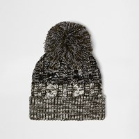 River Island Mens Khaki Bobble Twist Beanie