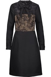 Mikael Aghal Bow Embellished Lace Paneled Satin Twill Dress Black