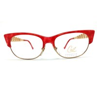 Christian Lacroix Vintage Cat Eye Red And Gold Art Clubmaster Glasses