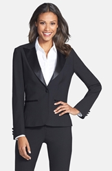 After Six Stretch Wool Tuxedo Jacket Black