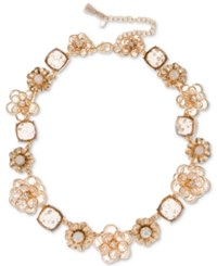 Lonna And Lilly Gold Tone Crystal Flower Collar Necklace 16 3 Extender