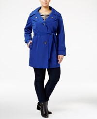 London Fog Plus Size Hooded Double Collar Trench Coat Bluebell