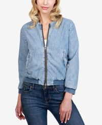 Lucky Brand Cotton Denim Bomber Jacket Sway