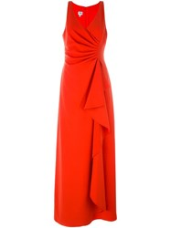 Armani Collezioni Ruffled Sleeveless Gown Red