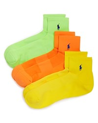 Ralph Lauren Quarter Sport Socks Pack Of 3 Neon Green Orange Neon Yellow