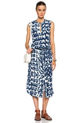 Vince Ikat Print Cargo Maxi Dress In Blue White