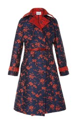 Prabal Gurung Flower Jacquard Trench Coat Floral