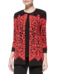 Misook Lace Print Long Jacket Women's