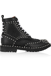 Givenchy Ankle Boots In Faux Pearl Embellished Black Textured Leather