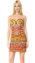 Moschino Strapless Dress Fantasy Print Red
