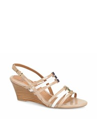 Sofft Posh Two Tone Patent Leather Wedge Sandals Pink
