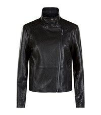Max Mara Maxmara Weekend Angizia Leather Biker Jacket Female Black
