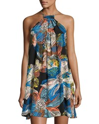 1.State Scrawls Floral Print Halter Dress Black