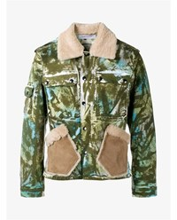 James Long Camouflage Work Jacket With Sheepskin Collar Khaki Green Turquoise Cream