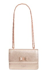 Ted Baker London Micro Leather Crossbody Bag Metallic Rose Gold