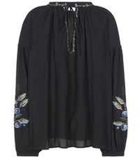 Closed Embroidered Cotton Blend Blouse Black