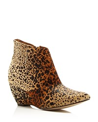 Matisse Nugent Leopard Print Calf Hair Wedge Booties