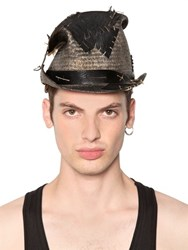Move Vintage Effect Patched Straw Top Hat