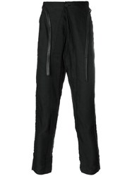 Transit Drop Crotch Tapered Trousers Black