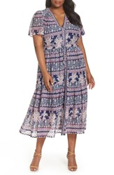 Eliza J Plus Size Flutter Sleeve Print Fil Coupe Maxi Dress Navy Pink