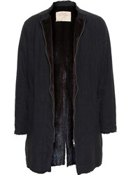 By Walid Mink Fur Lined Long Twist Coat Black