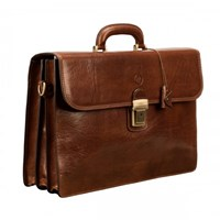 Maxwell Scott Bags Tan Classic Leather Briefcase Paolo3