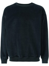Golden Goose Deluxe Brand Embroidered Velour Sweatshirt Blue