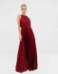 Chi Chi London High Neck Satin Maxi Dress In Oxblood Red