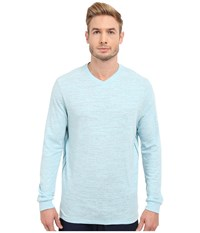 Tommy Bahama Sundays Best V Neck Long Sleeve Spa Blue Heather Men's Clothing