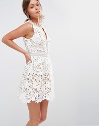 New Look Premium Plunge Crochet Lace Skater Dress White