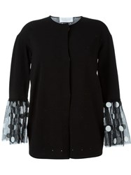 Gianluca Capannolo Tulle Cuff Perforated Cardigan Black