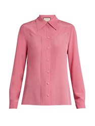 Gucci Pleated Placket Silk Crepe De Chine Blouse Pink