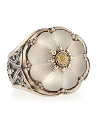 Konstantino Round Flower Carved Frosted Crystal Ring