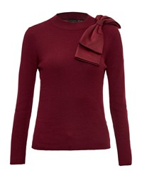 Ted Baker Nehru Bow Detail Jumper Maroon