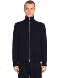 Maison Martin Margiela Zip Up Wool Knit Sweater Blue