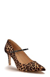 Shoes Of Prey Women's Pointy Toe Mary Jane Pump Leopard Print Satin