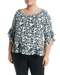 Fever 3 4 Sleeve Floral Printed Ruffle Blouse Blue