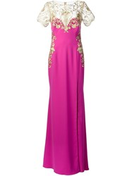 Marchesa Notte Embroidered Flower Dress Pink And Purple