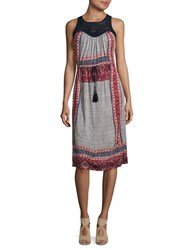 Lucky Brand Knitted Macra Lace Dress Red Mult