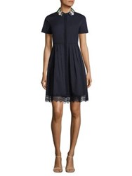 Elie Tahari Samiyah Embellished Pleated Shirtdress Navy Yard