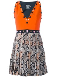 Fausto Puglisi Embellished Snakeskin Effect Dress Yellow And Orange
