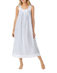 Eileen West Sleeveless Cotton Nightgown White Blue