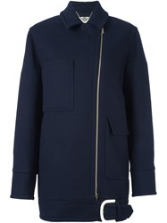 Stella Mccartney Off Centre Zip Oversize Coat Blue