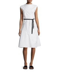 Bottega Veneta Cap Sleeve A Line Sailcloth Dress White Bianco