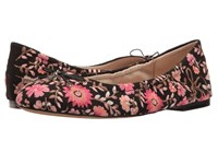 Sam Edelman Felicia 3 Black Canvas Pink Multi Maya Floral Embroidery Women's 1 2 Inch Heel Shoes