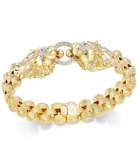 Macy's Diamond Lion Link Bracelet 1 2 Ct. T.W. In 14K Gold Plated Sterling Silver Yellow Gold