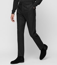 Reiss Martian Flannel Trousers In Charcoal